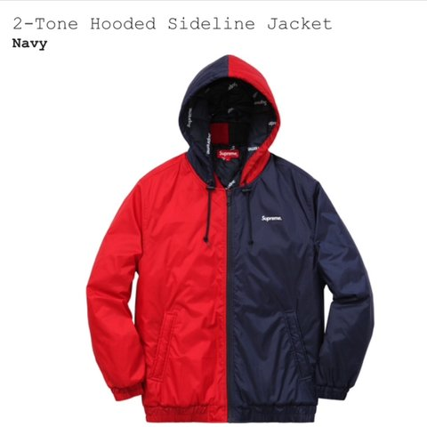f6dd06be47ba SUPREME 2 TONE HOODED SIDELINE JACKET RED   NAVY LARGE pm - Depop