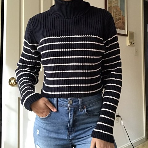47a18ce1d5bf4  sabrinasrad. 3 months ago. United States. Blue and white striped  turtleneck sweater crop top