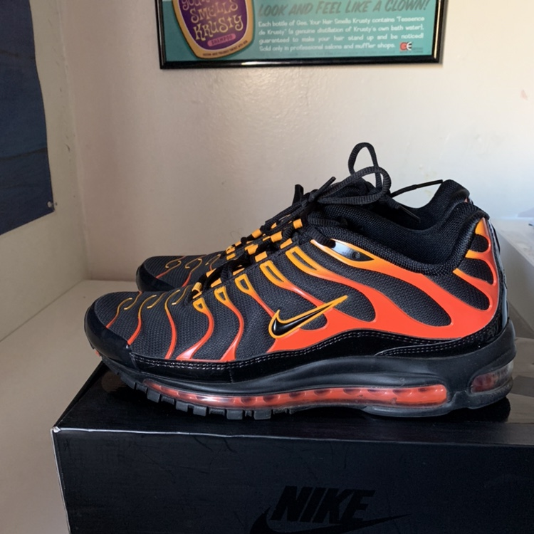 newest 5fa33 18fb4 Nike Air Max 97/ Plus Black Shock Orange FREE... - Depop