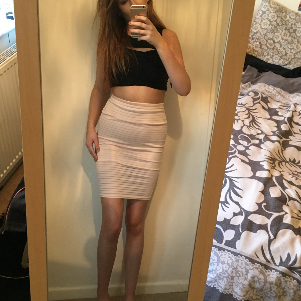 cb507b66a21f5 MISSGUIDED nude pink bodycon midi skirt