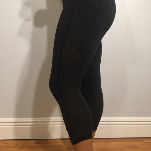 0403ae6447 SALE!!!!!! AUTHENTIC LULULEMON MESH CROP LEGGINGS. Color is - Depop