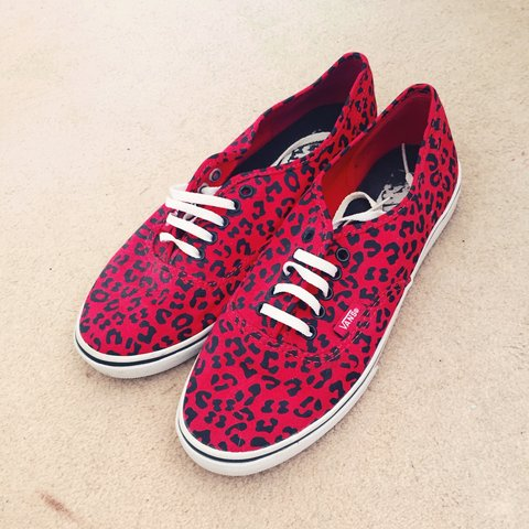 9f499e2d6ba9 Almost brand new rare Vans Lo Pro red leopard print UK size - Depop