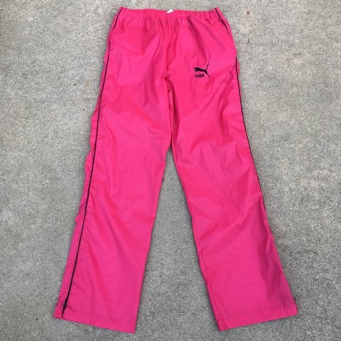 dcf59b0d7d4d Vintage 90s hot pink Puma nylon track pants. Fits up to a is - Depop