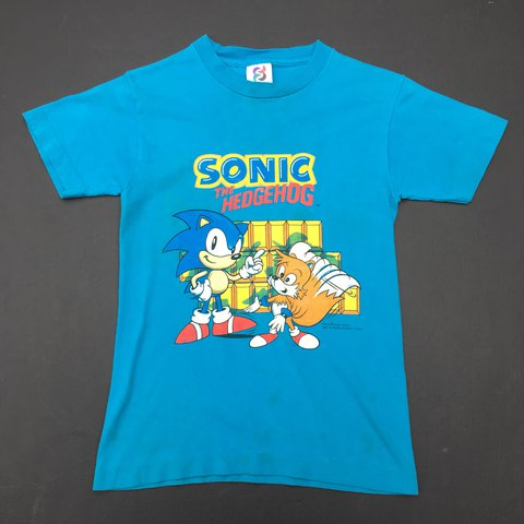 Vintage Early 90s Sonic The Hedgehog Youth Tee Good Worn A Depop