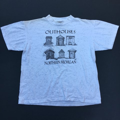 Vintage 90s Outhouses of Michigan tee  Has    - Depop