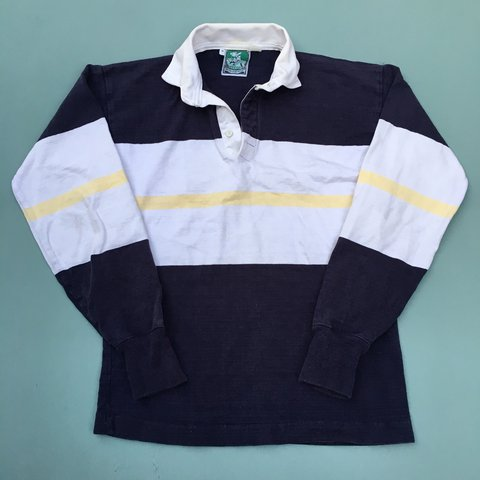 d0abe72c186 Vintage big stripe navy blue, white, and yellow rugby shirt. - Depop