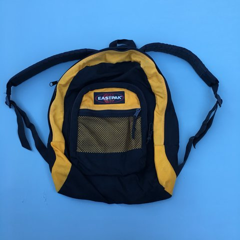 Eastpak backpack in black and yellow. Made in USA. Vintage a - Depop