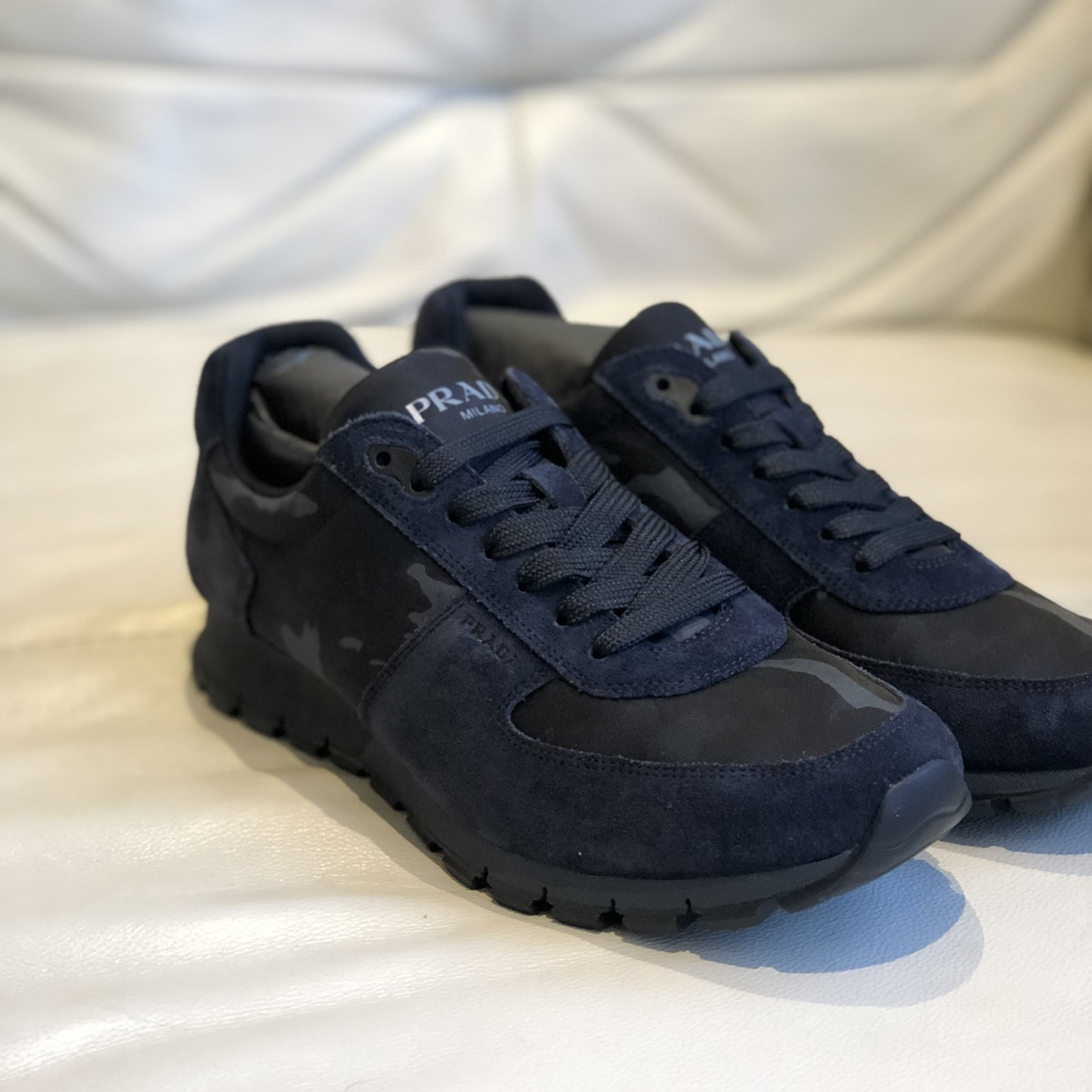 buy sale for whole family luxuriant in design Blue/ navy camo prada Milano runners. Brand new with ...