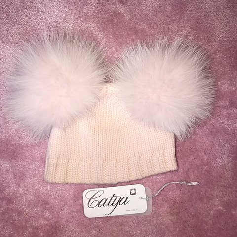 7f3bcdec9373bb @polrudfif. 2 months ago. Manchester, United Kingdom. Baby girls pink catya  wool hat with Pom ...
