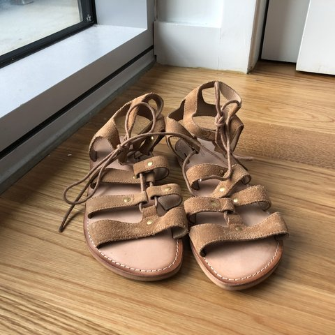 7eabc1f8af7 never worn tan gladiator sandals from urban outfitters. size - Depop