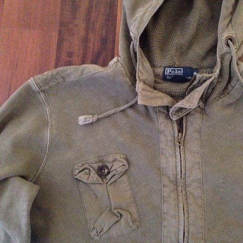 2d23916c6 POLO RALPH LAUREN olive army green zip up hoodie (used but - Depop