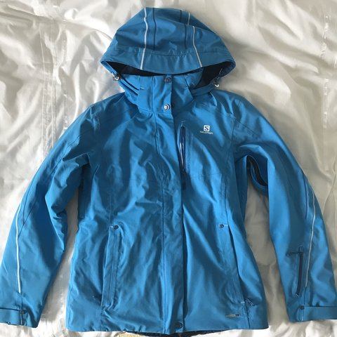 5efda2f810 Salomon Advanced Skin Dry Blue Size M Ski Jacket 20K used - Depop