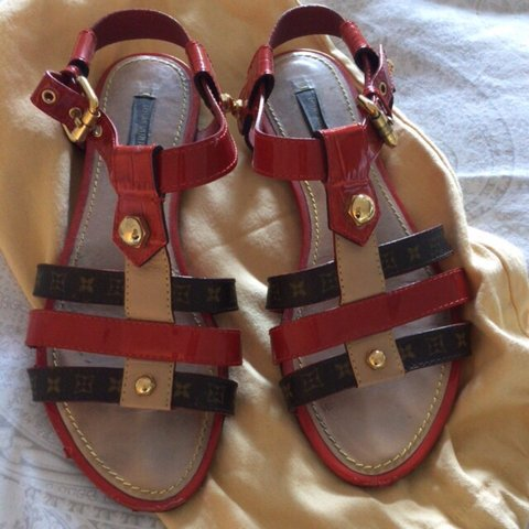 ae8e8d59f4ab lv  sandals  used  red  monogram  size38 was 600€ - Depop