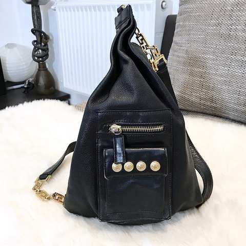 78ca458a9d3 @agene3. 8 months ago. Riga, Latvia. GIANNI VERSACE COUTURE Vintage Pyramid Backpack  Black Leather Medusa Sling Bag