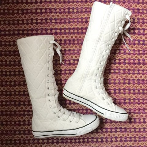 Knee high sneaker shoes in the style of Converse. White with - Depop e545e64c2