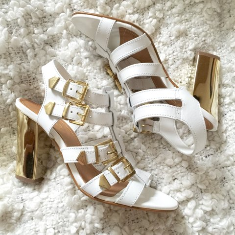 46bdbe75a5c Aldo white gladiator heeled sandals with 4 gold buckles. and - Depop