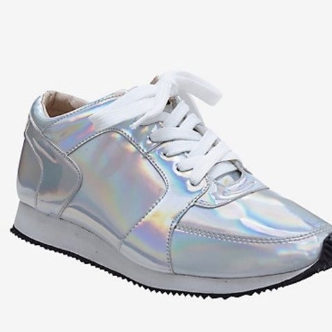 5bc554dc72af Brand new holographic metallic sliver rainbow sneakers. Size - Depop