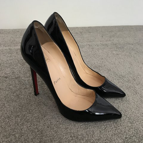 35d2d9387d5f Christian Louboutin pigalle 120 in black patent leather. 37 - Depop