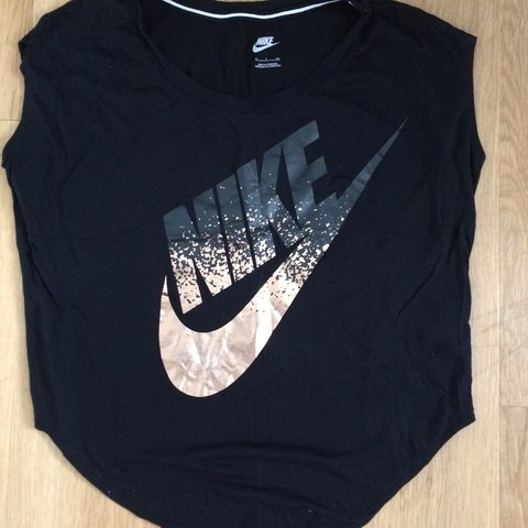 4386fbff0 Black and rose gold Nike t shirt / work out top with rose on - Depop