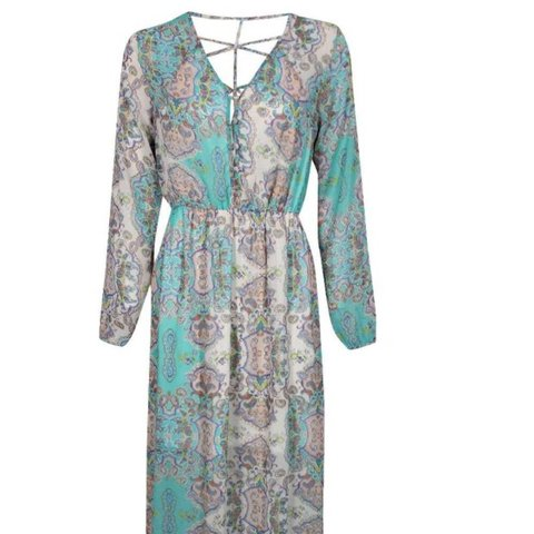 0f7bb8f8ab02 @waterforyoursoul. 8 days ago. Dunmow, United Kingdom. Boohoo Cage Detail Paisley  Woven Maxi Dress.