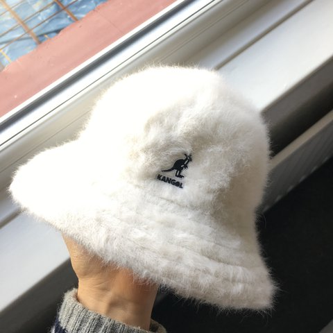 bea62ac9c2b Kangol bucket hat. White fur. Size Small. So cosy gd for Y2k - Depop