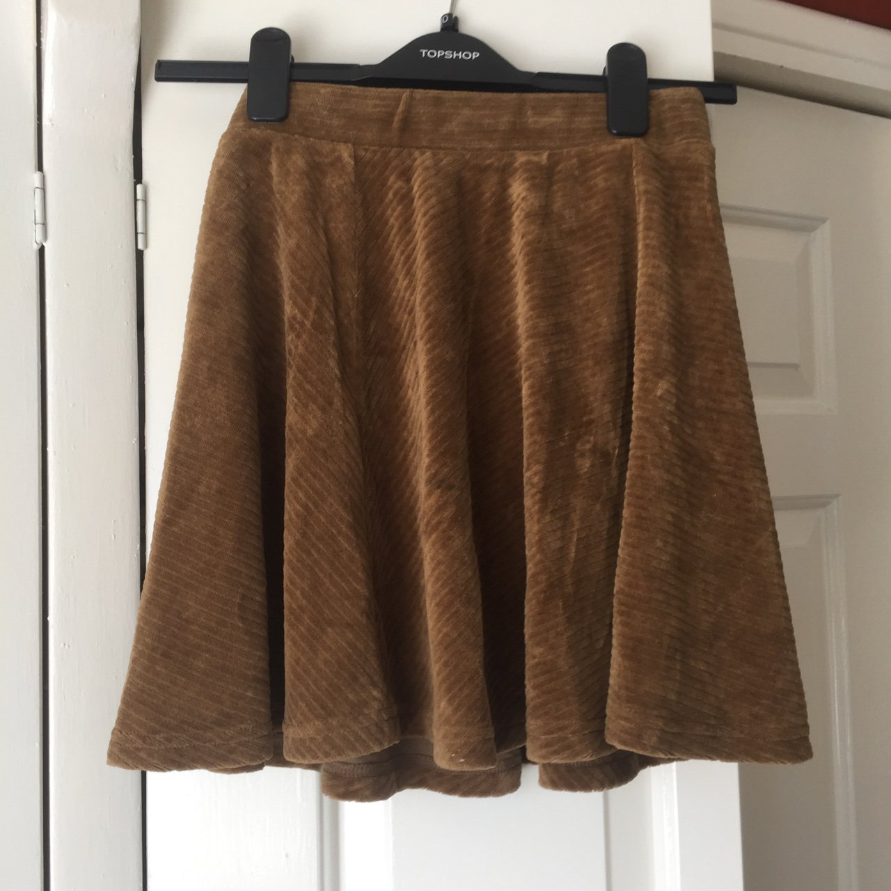 Suede velvet light brown skater skirt from Topshop. Free - Depop f858a5f41