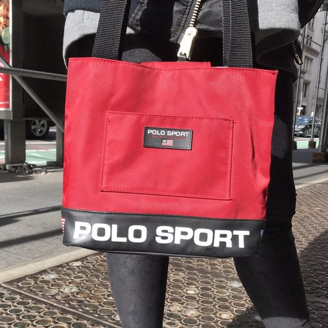 63e94969e6 90s Cherry Red VINTAGE Ralph Lauren POLO SPORT shoulder bag. - Depop