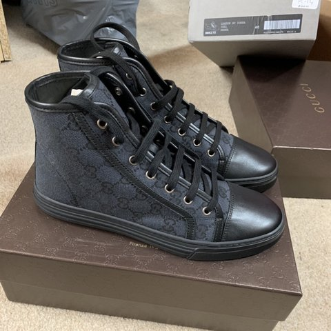 22426cbc89b Brand new Gucci black high top trainers Never been worn Size - Depop