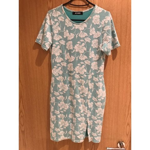 e04a4d776e470 Missguided duck egg blue and white floral mini dress with up - Depop
