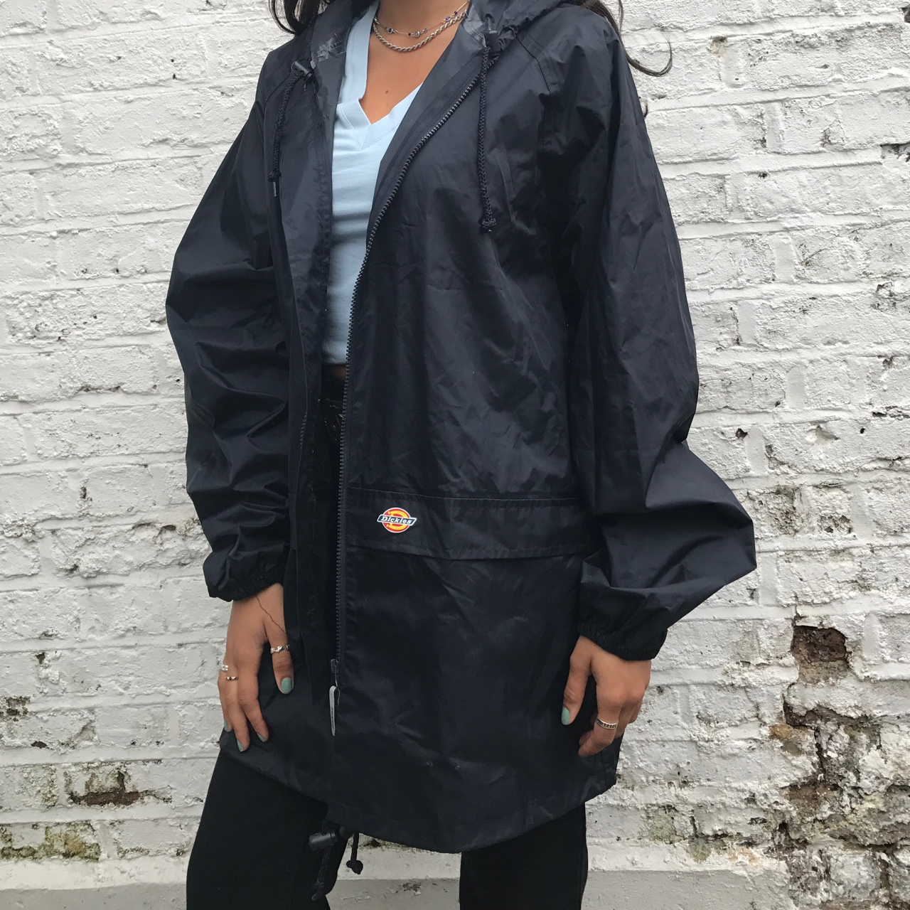 colours and striking find lowest price best sneakers Black Dickies raincoat, size XL worn on a size 8 - Depop