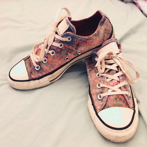 245387c6f6e Size 4 Real Pink glitter Converse with blue   green only a - Depop