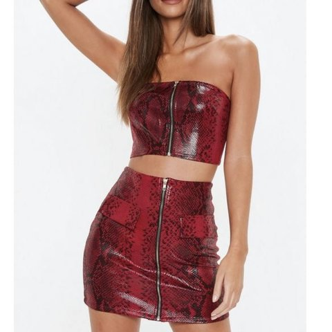 ce2fb8bf9ef Missguided Red snake print two piece co ord set