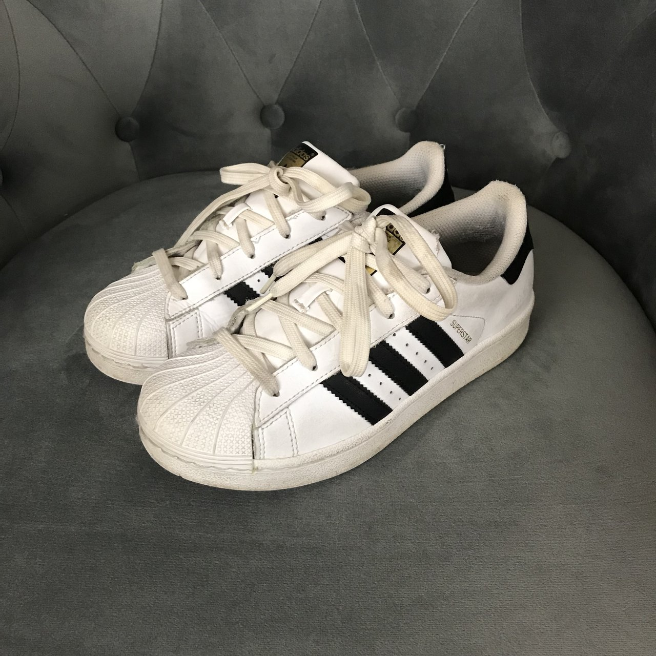 adidas superstar sneakers. these have a white toe cap and is - Depop 8c7e99088