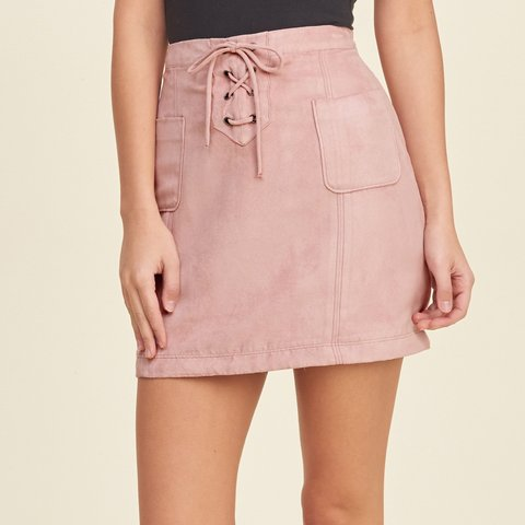 5258ffa4d @connieyu23. 6 months ago. Bolton, Canada. **ON HOLD DO NOT BUY PINK LACE  UP FAUX SUEDE SKIRT ...