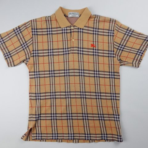 afb4e1c03 Vintage Burberry nova check polo shirt in the classic with - Depop