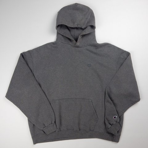 81f95188 Dark grey Champion hoodie with the classic C logo on the & - Depop