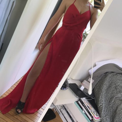 Lucie Red Silky Plunge Extreme Split Maxi Dress from Pretty - Depop 013543193