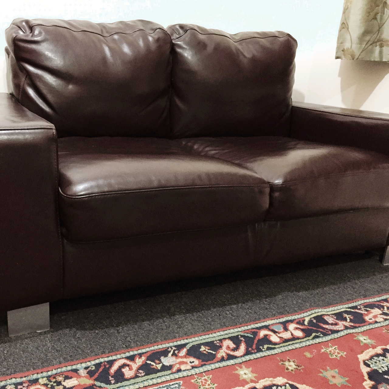 Superb Chocolate Brown 2 Seater Faux Leather Sofa In Depop Onthecornerstone Fun Painted Chair Ideas Images Onthecornerstoneorg