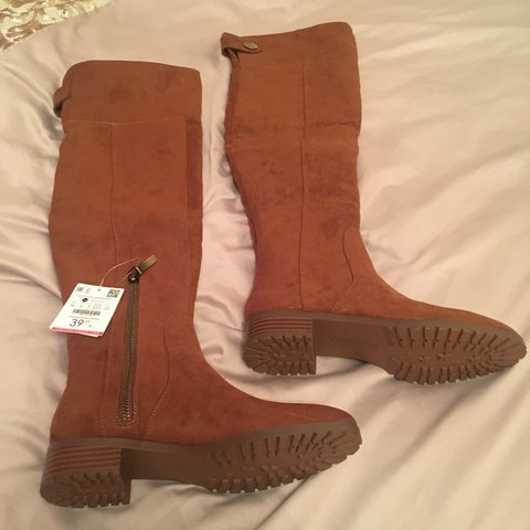 1803672a3a5 BRAND NEW over the knee boots in suede tan from Bershka. UK - Depop