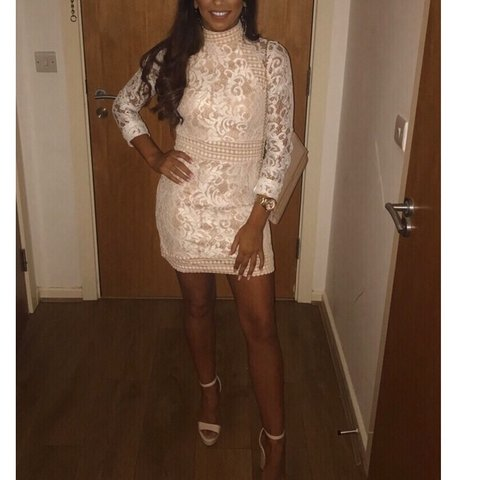 855d67feeb Pretty little thing! Isobel White Lace High Neck Bodycon - Depop