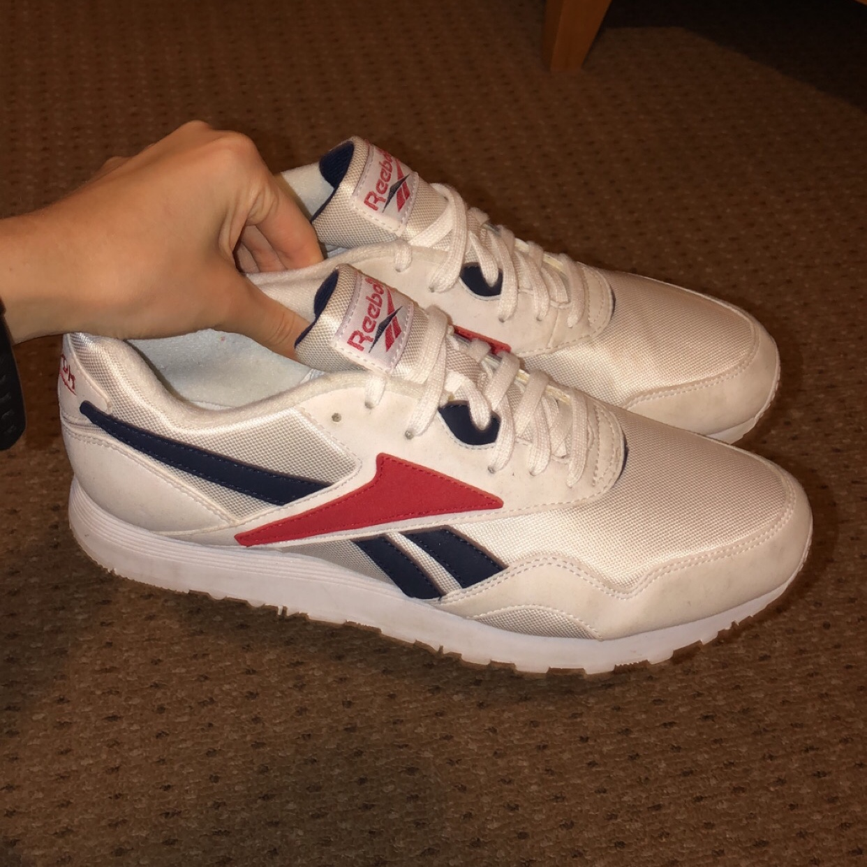 Reebok rapide OG classic trainers in white red Depop