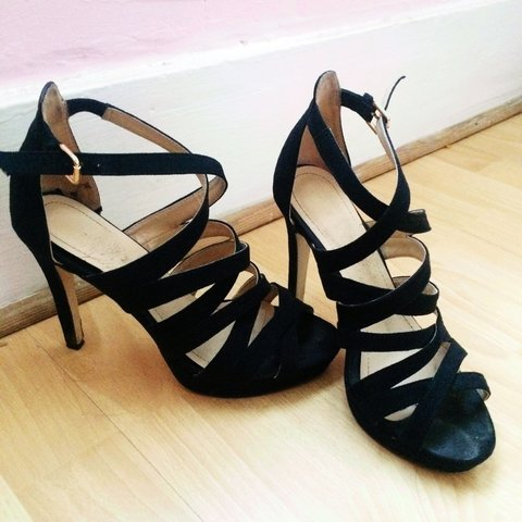 1d98be5da32 H M black strappys. The most comfiest high heels ever!! is - Depop