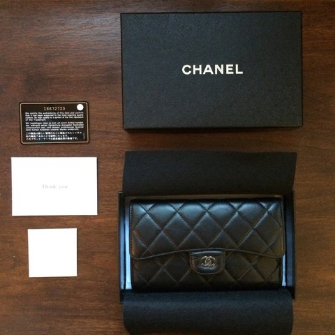 0e2c99878096 @visualreminders. 4 years ago. Los Angeles, United States. Chanel clutch  wallet with Authenticity card & purchase ...