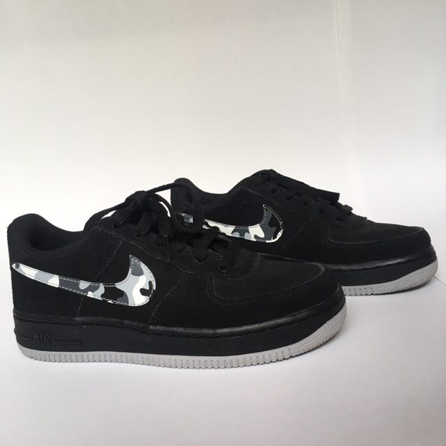 Nike Air Force 1 black suede with camo