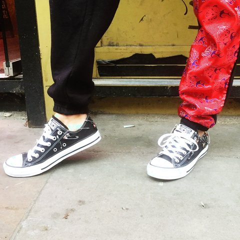 Reworked custom converse all stars   Size uk 6   With safety