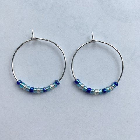 96bc7c52d Favourite dark blue, light blue and clear beaded hoops, 25mm - Depop