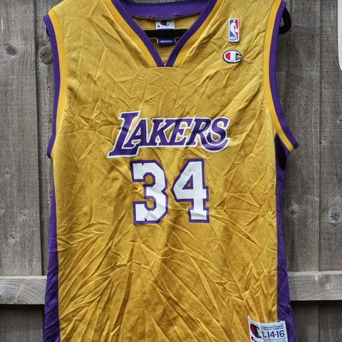 559bbe5cc7b LA Lakers jersey. No.34 O'Neal. Unisex size small. All gets - Depop