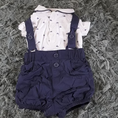 7696d3cc496b Baby Boy two piece romper navy and white top 0-3 month McKay - Depop