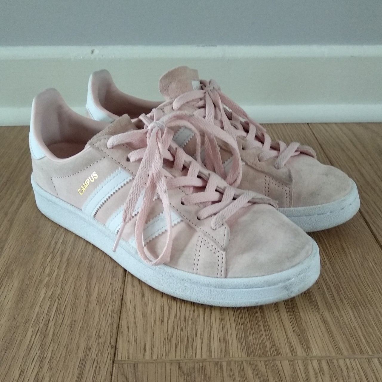 Gorgeous baby pink Adidas Campus trainers, little...