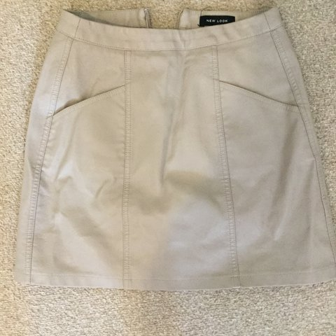 5f75065ffc REDUCED! Grey / nude leather mini skirt from new look, I the - Depop